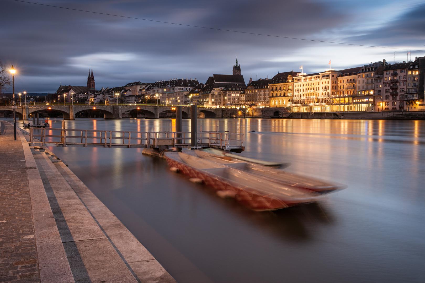 Rhein mit Weidling, Basel