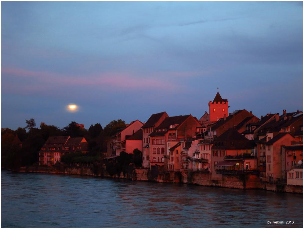 Rheinfelden Moonrise And Sunset
