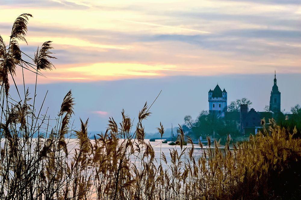 Rheinufer bei Eltville - Sonnenuntergang am 22. Januar 2016