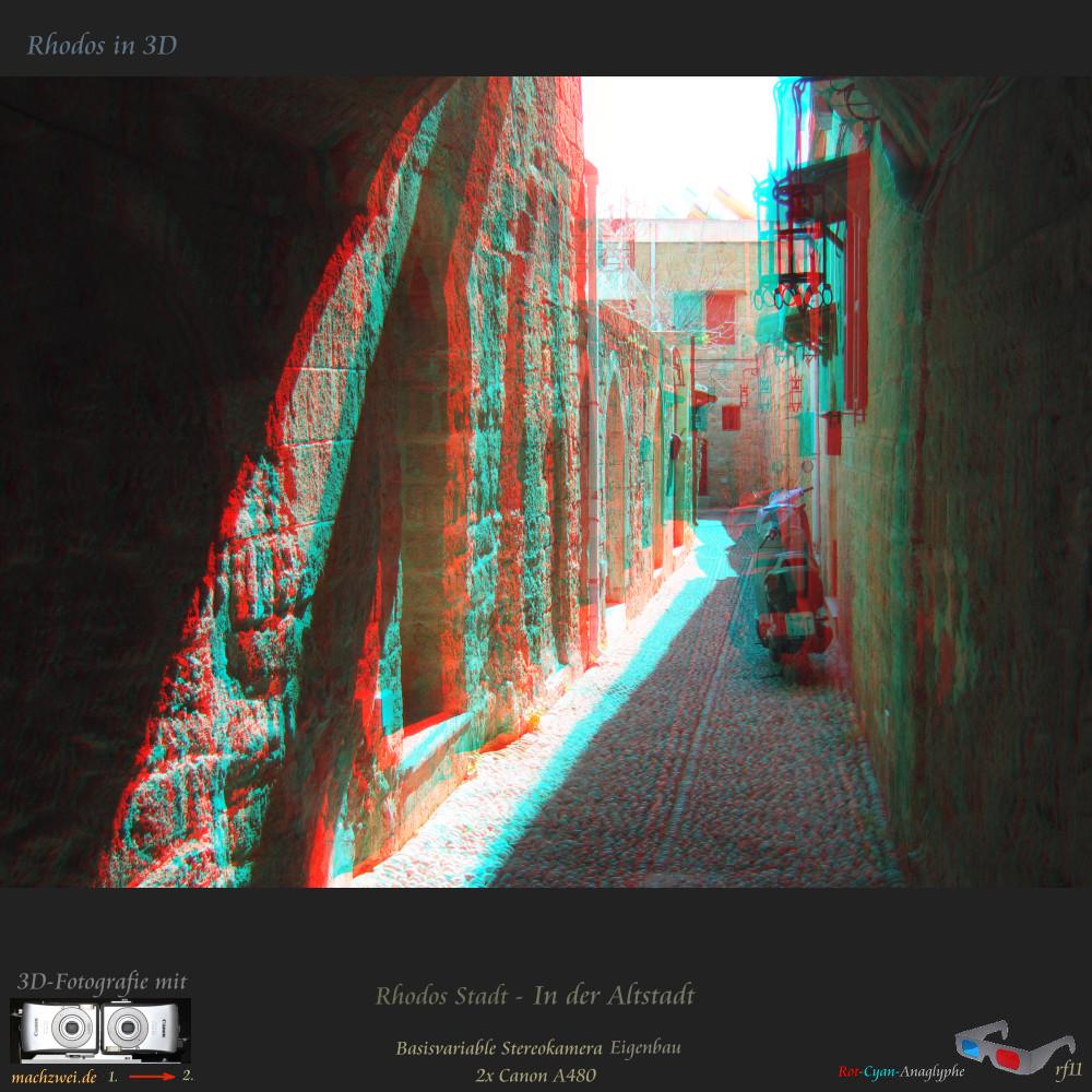 Rhodos in 3D: In den engen Gassen der Altstadt - Anaglyphe