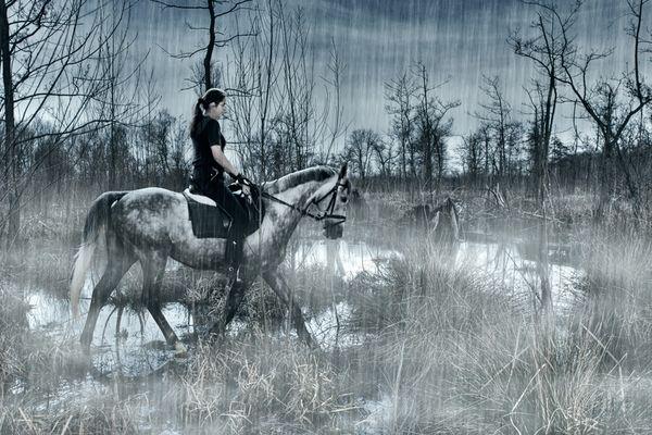 Riding through the misty rain