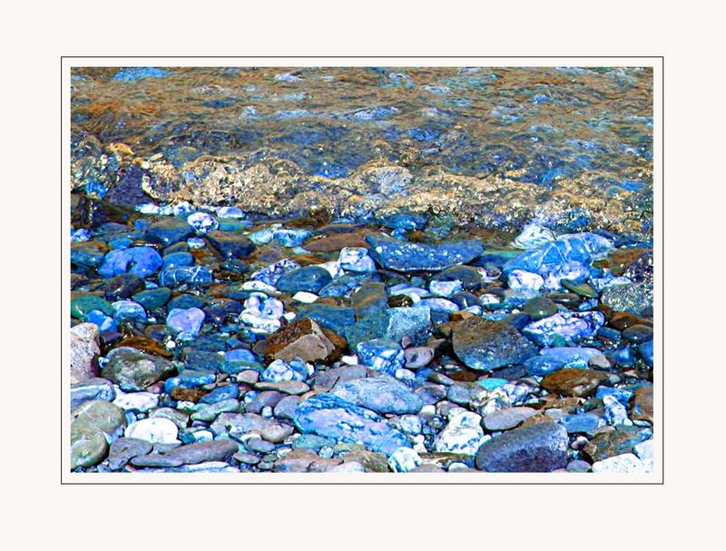 River of blue stones