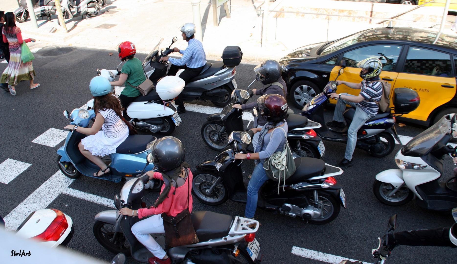 Rollerfahrer in Barcelona