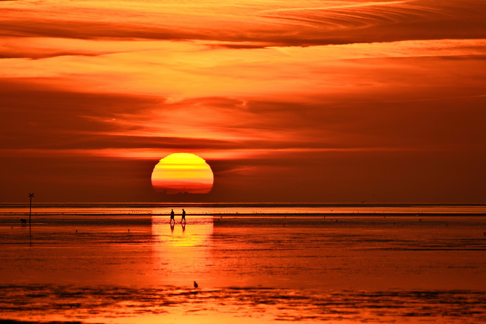 Romantischer Sonnenuntergang im Sahlenburger Watt
