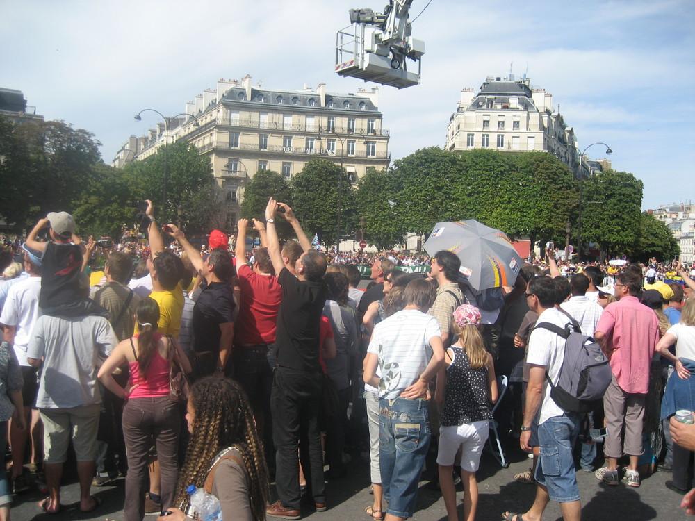 Rond-point des Champs-Elysées: arrivée du Tour, dimanche 26 juillet 2009