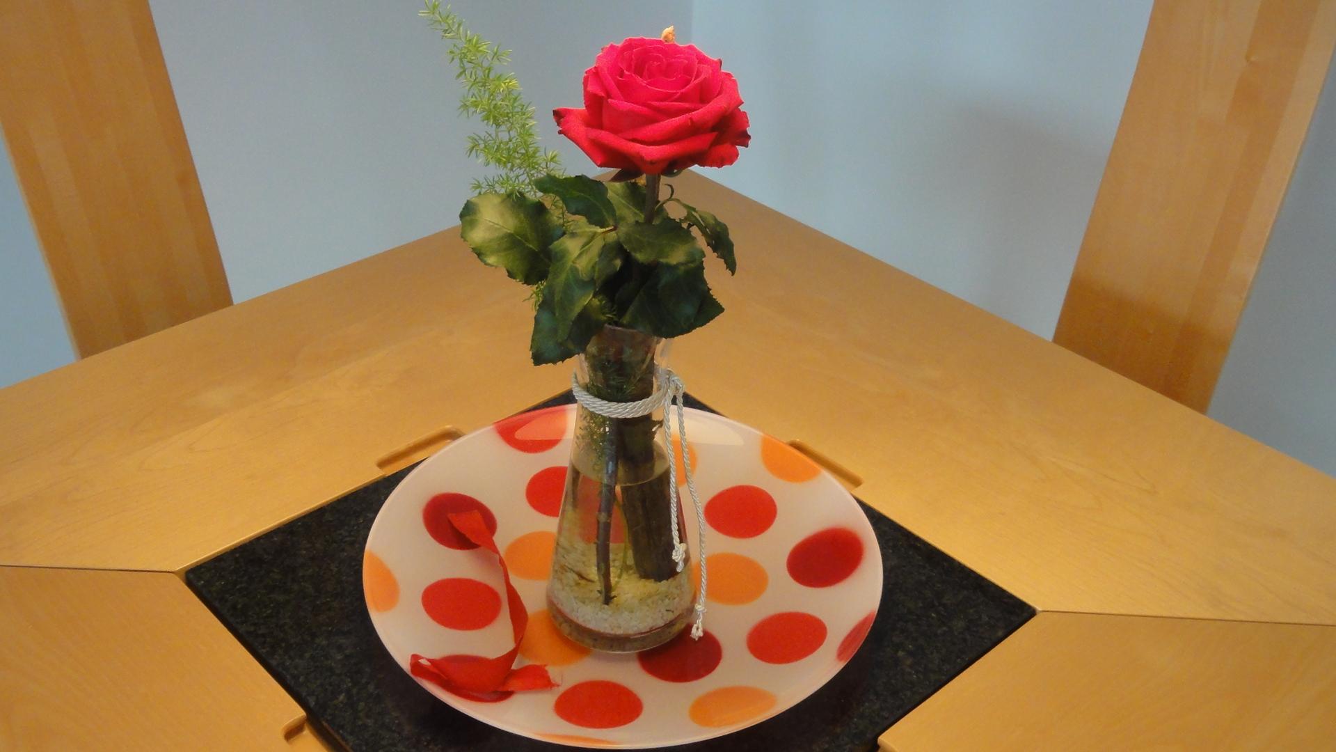 Rose in stilvollem Ambiente