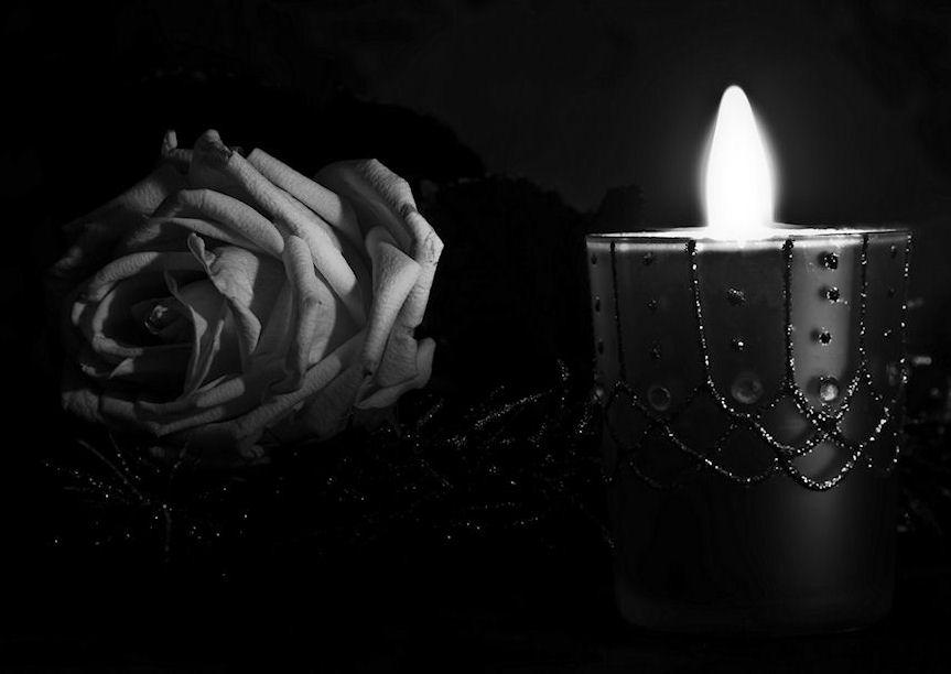 Rose und Kerze -