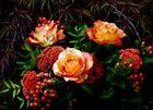 Rosen zwischen Ahornzweigen