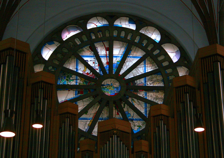 Rosette mit Dortmunder Stadtplan - Propsteikirche Dortmund