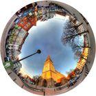 Rostock Alter Markt mit Petrikirche in der Little Planet Projektion