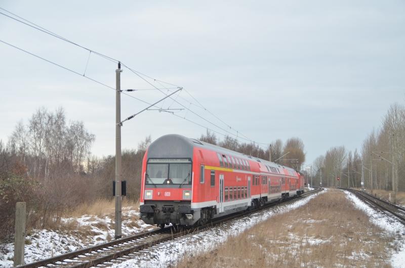 Rostocker S1 bei der Einfahrt in dem Haltepunkt Rostock Lichtenhagen