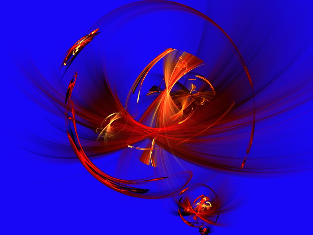 rote Phantasie auf blauem Grund