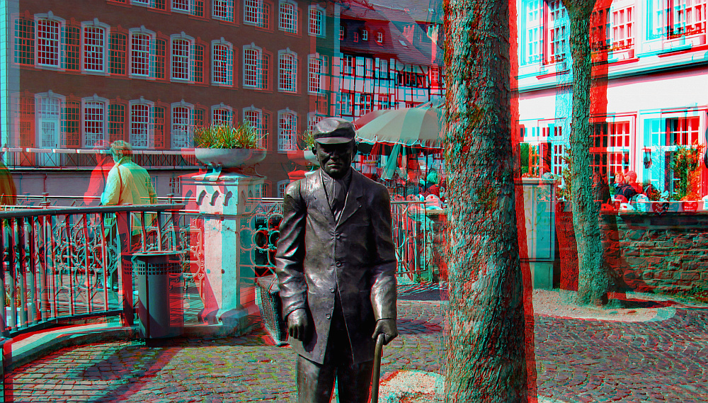 Rotes Haus in Monschau 3D-Anaglyphe