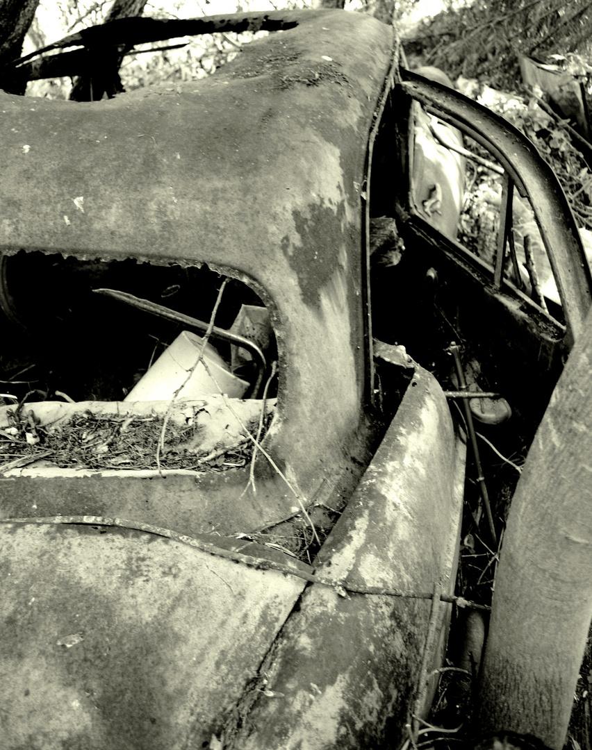 Rouler dans le passé avec cette vielle voiture Rouillée. (2)