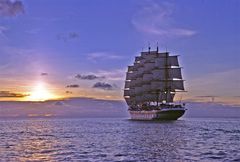Royal Clipper sailing into the night