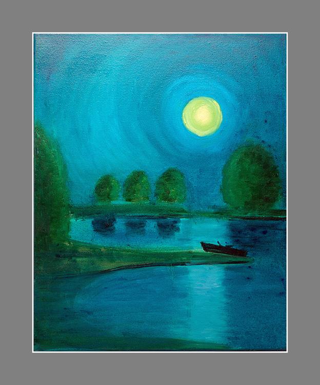 Ruderboot in der Nacht