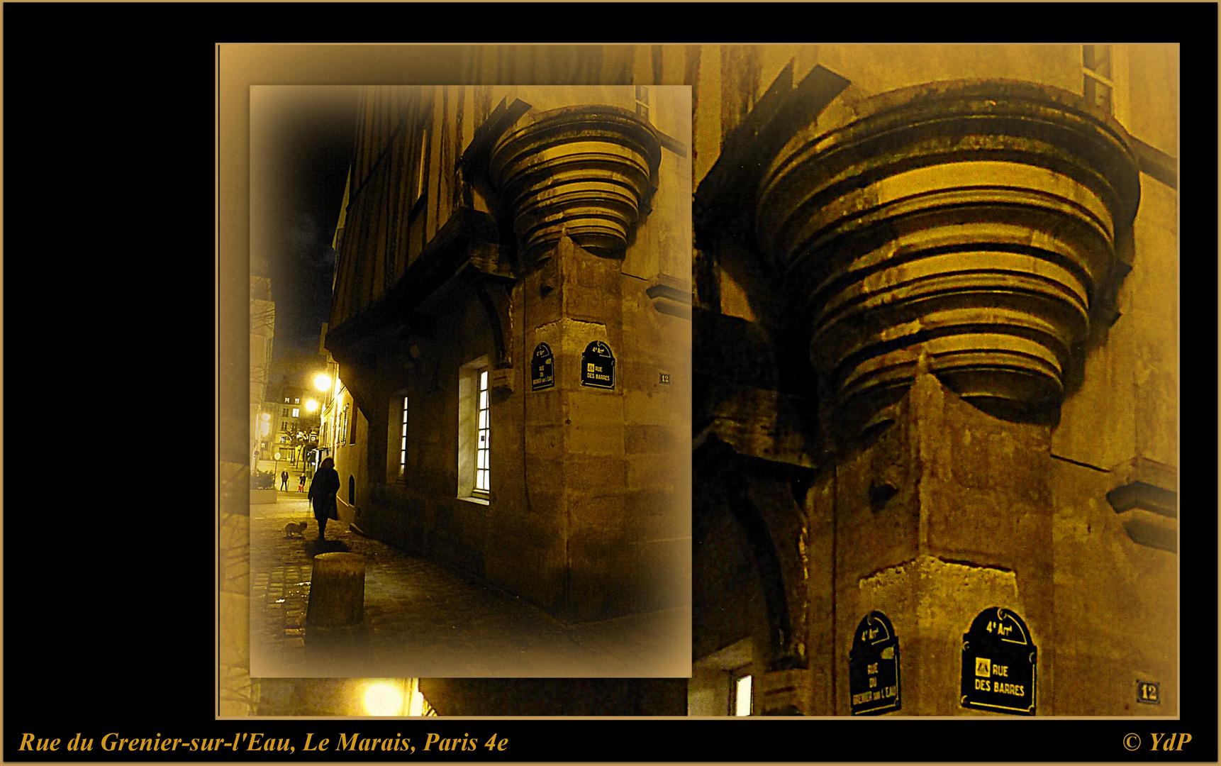 Rue du Grenier-sur-l'Eau, à la nuit tombée...