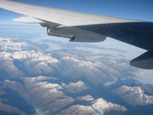 Rückflug - Schweizer Alpen am Morgen