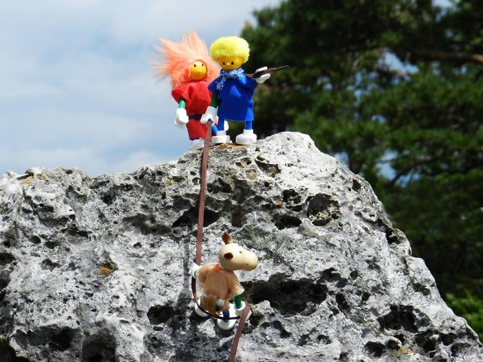 Rüpfchen, Schna und Rover klettern