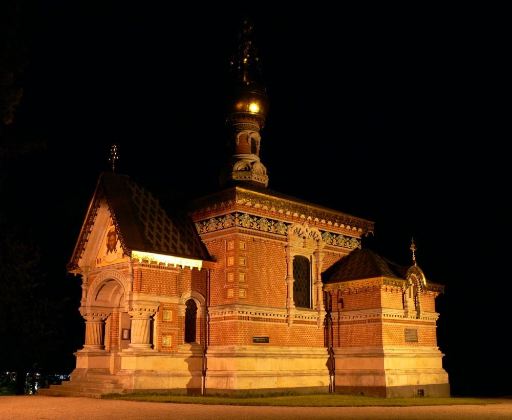 Russische Kirche in Bad Homburg v.d.H. bei Nacht