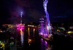 Ryck in Flammen auf dem Fischerfest Greifswald-Wieck