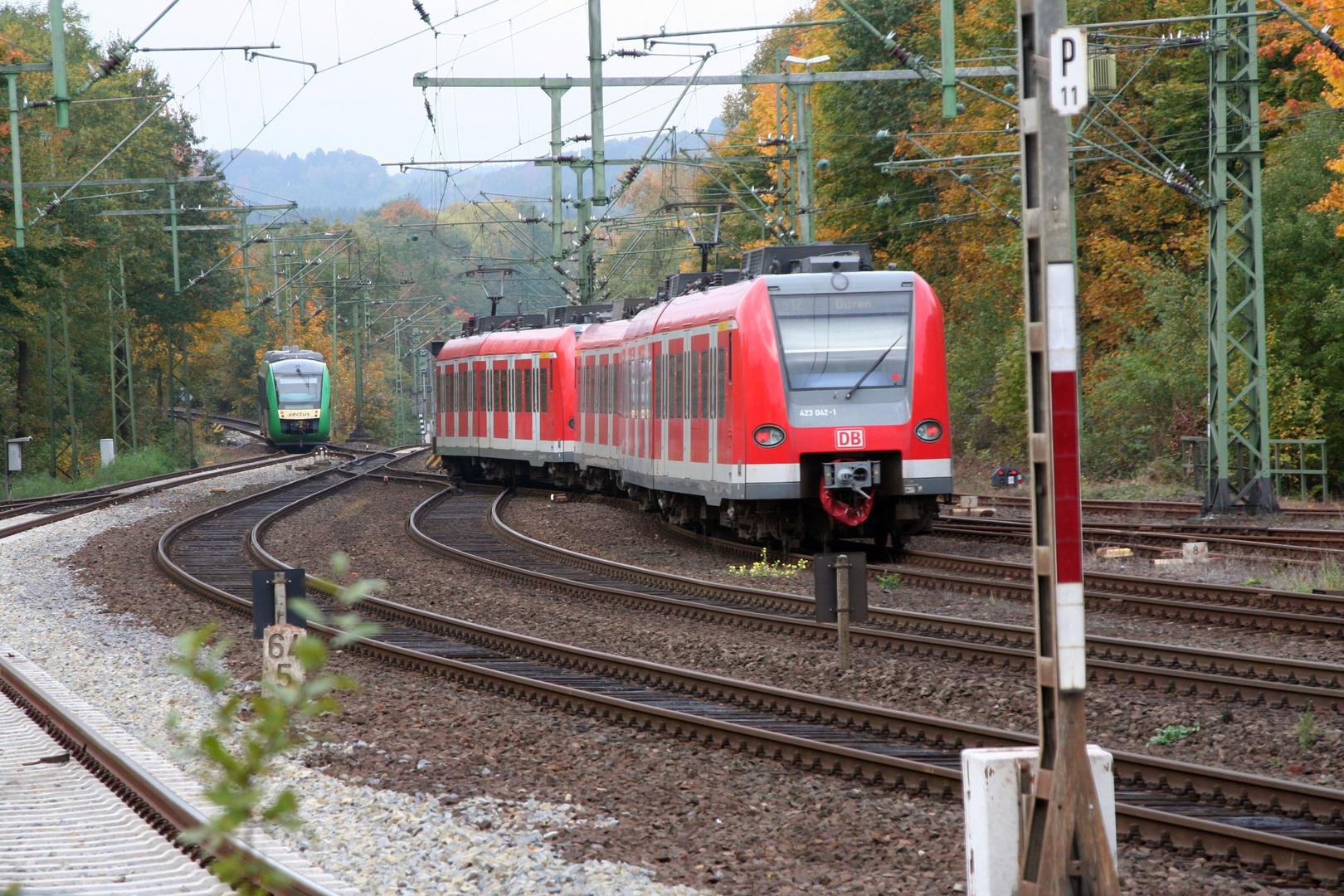 S 12 verlässt AU/Sieg Richtung Rosbach...