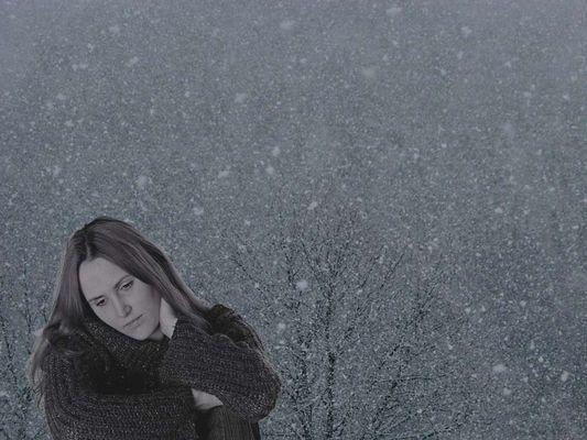 Sad girl in snow...