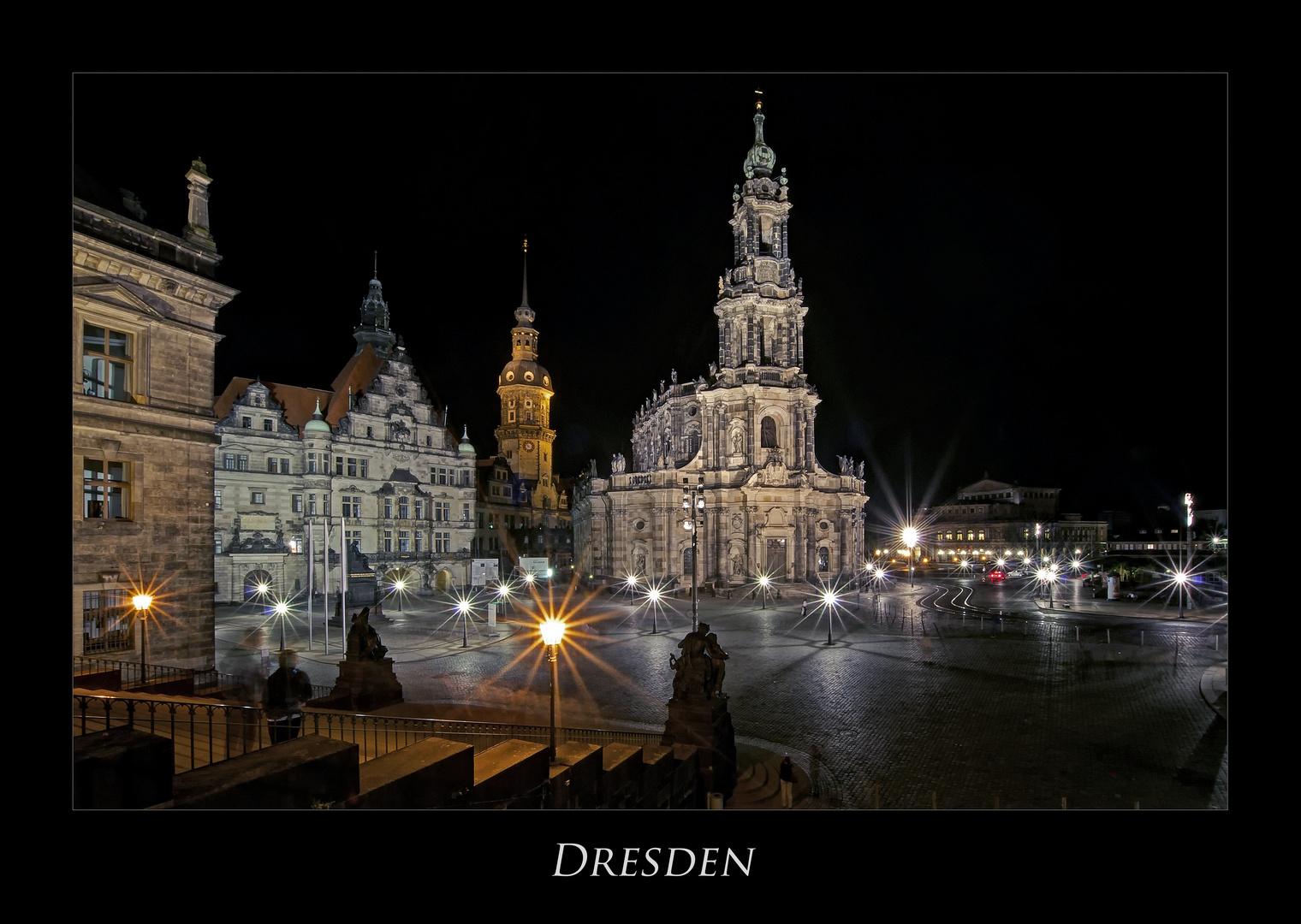 """Sächsische Impressionen """" Dresdner - Stadtansichten, bei Nacht************.... """""""