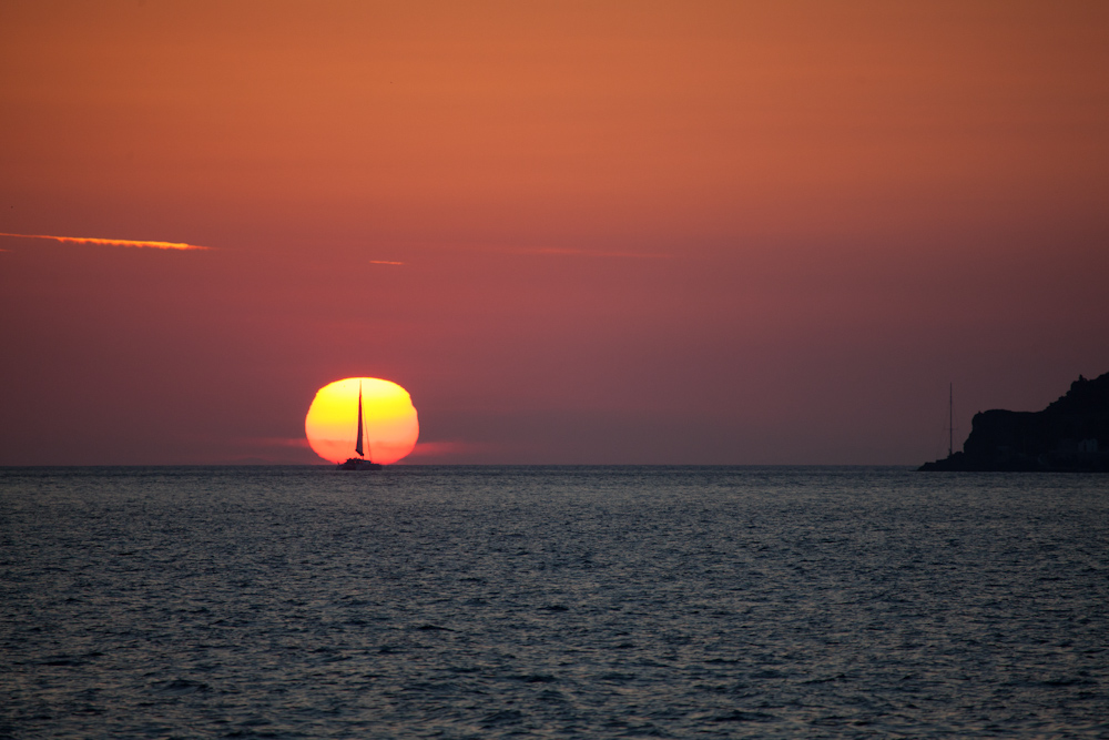 Sailing into the sun ...