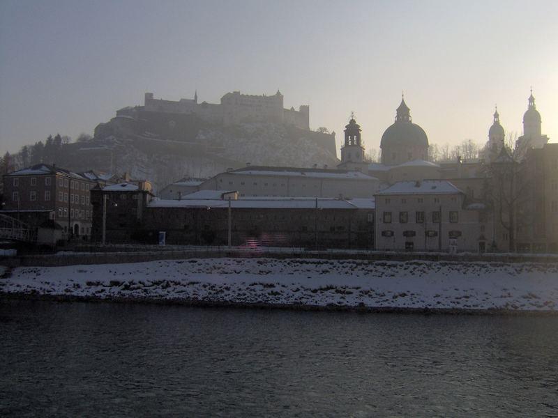 Salzburg silhouette in winter