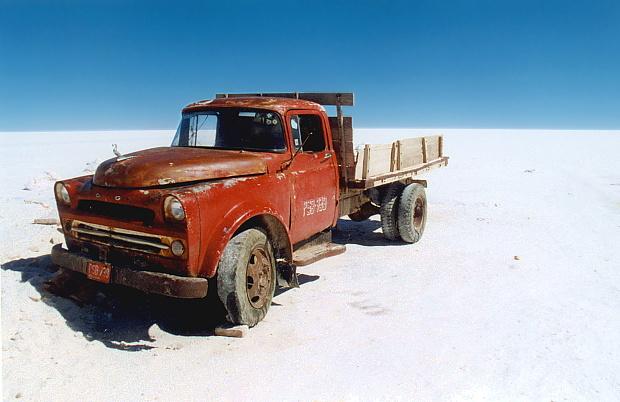 Salztransporter, Salar de Uyuni, Bolivien