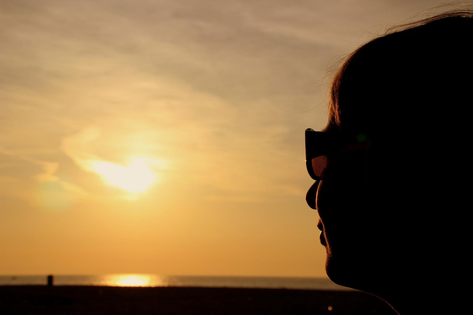 Sandra im Sonnenuntergang