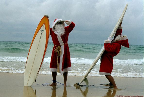 Santa Clause's on the beach...