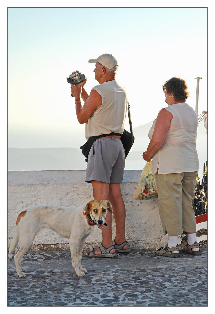 Santorin/Fira - Paar mit Hund