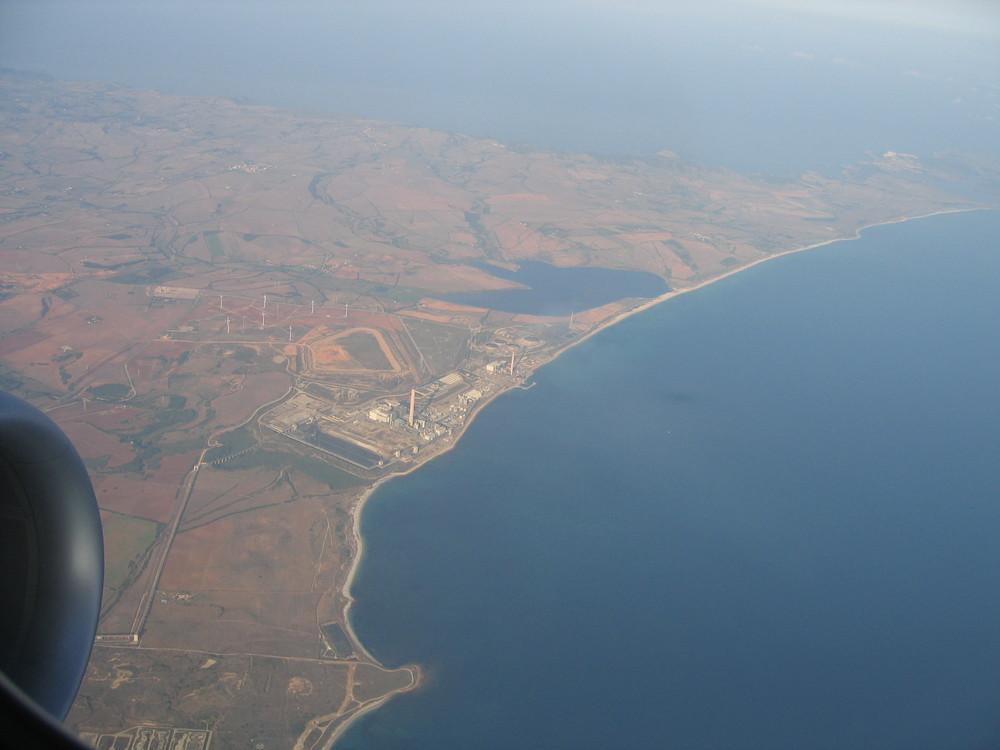 Sardinien aus dem Flugperspektive.