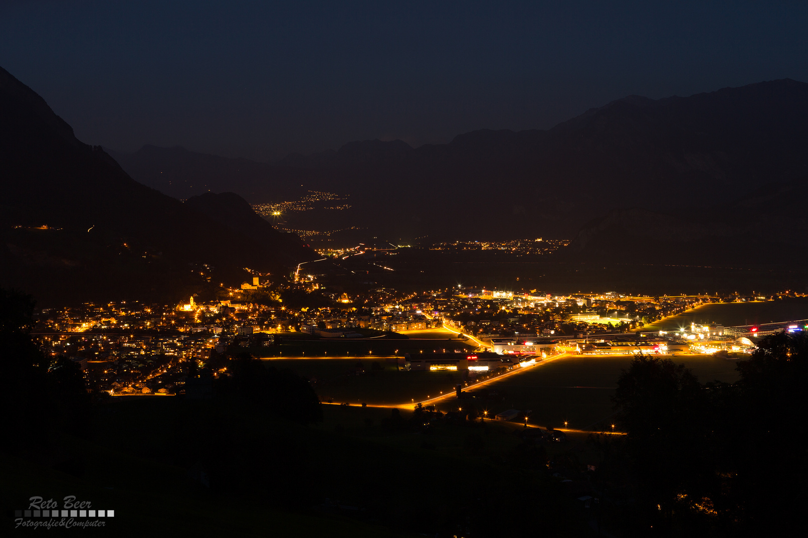 Sargans bei Nacht