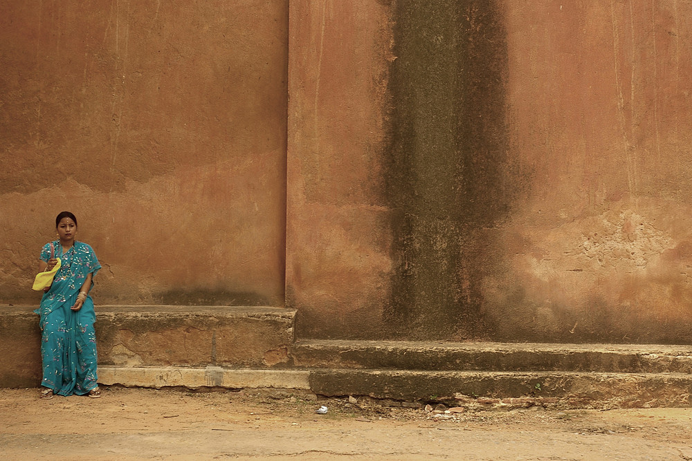 Sari coloré et esseulé dans la grandeur de l'Inde