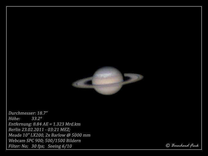 Saturn, und der Sturm tobt weiter