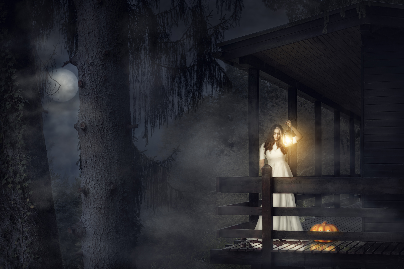 Scary woman in white dress in a dark forest