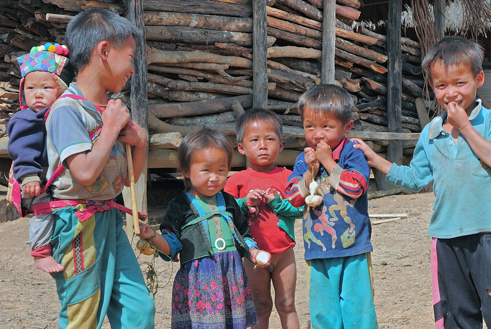 Scene of Hmong kids in the village