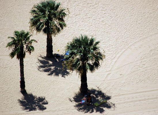 Schattenspender am künstlichen Strand