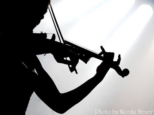 Schattenspiel beim Konzert von Schandmaul