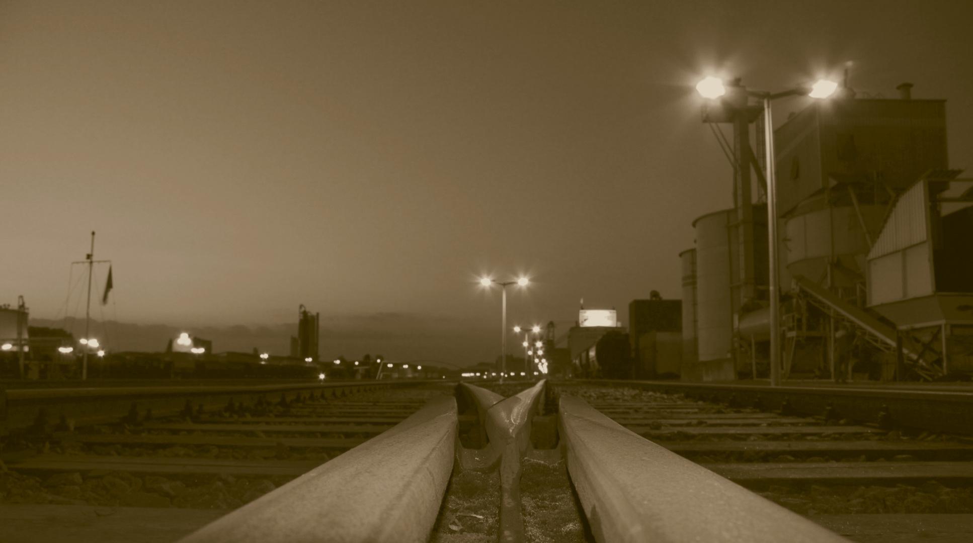 Schienen im Hafen