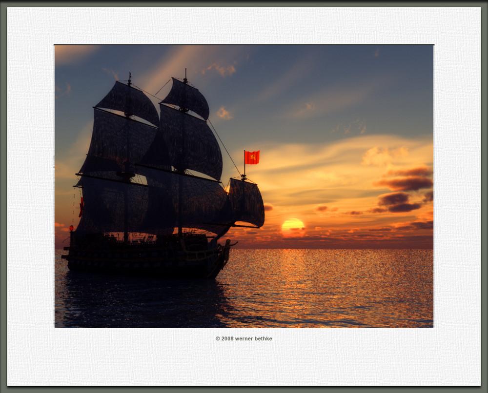 Schiff mit Sonnenuntergang
