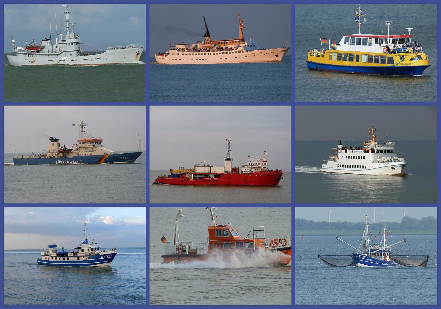 Schiffe vor Cuxhaven.
