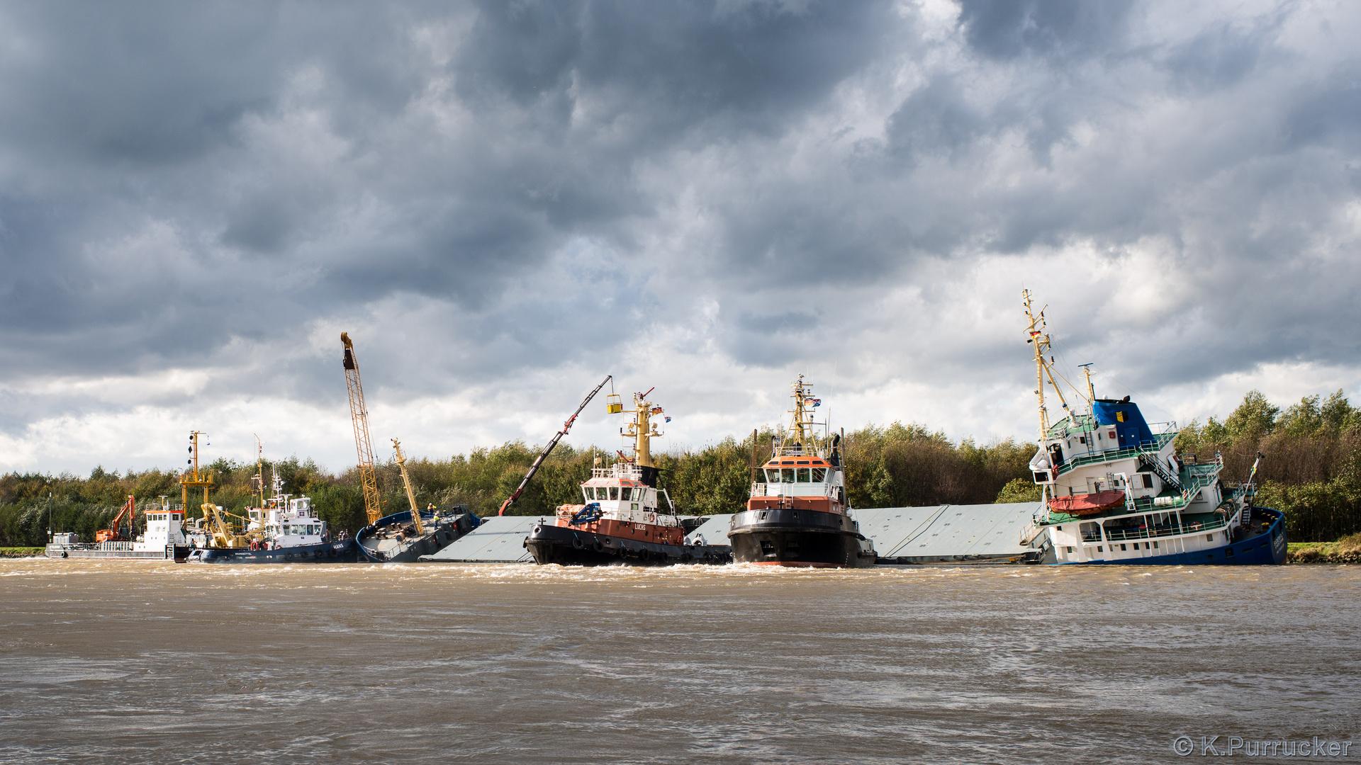 Schiffskollision im Nord-Ostsee-Kanal Oktober 2013