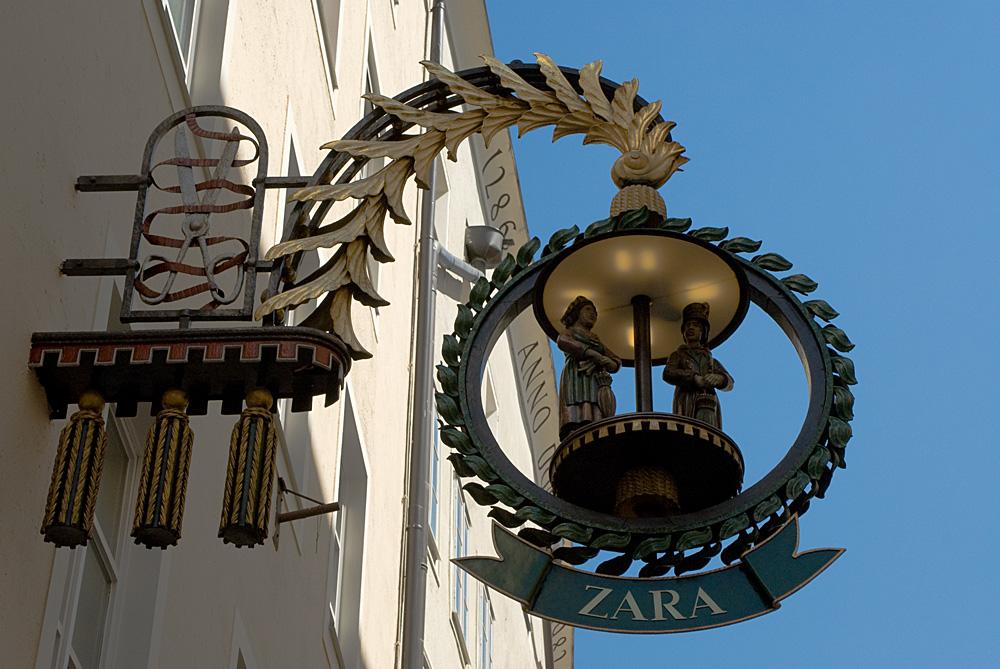 Schilder in Salzburg: ZARA