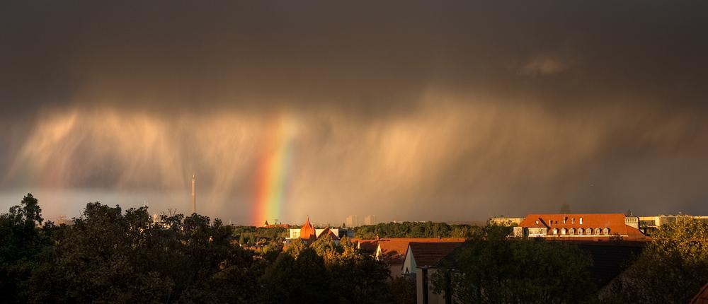 schlechtes Wetter über Leipzig