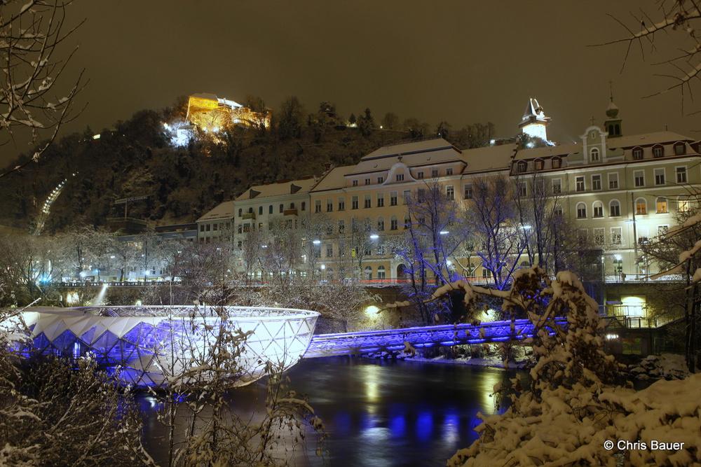 Schloßberg und Murinsel in Graz