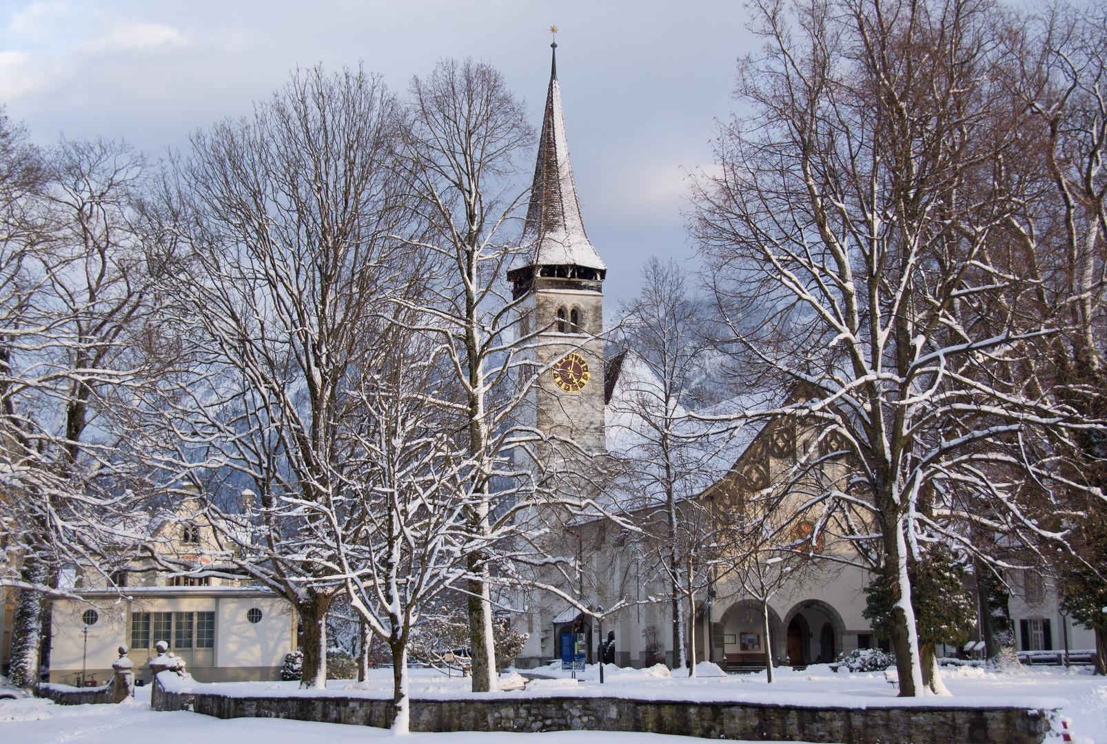 Schlosskirche Interlaken im Winter